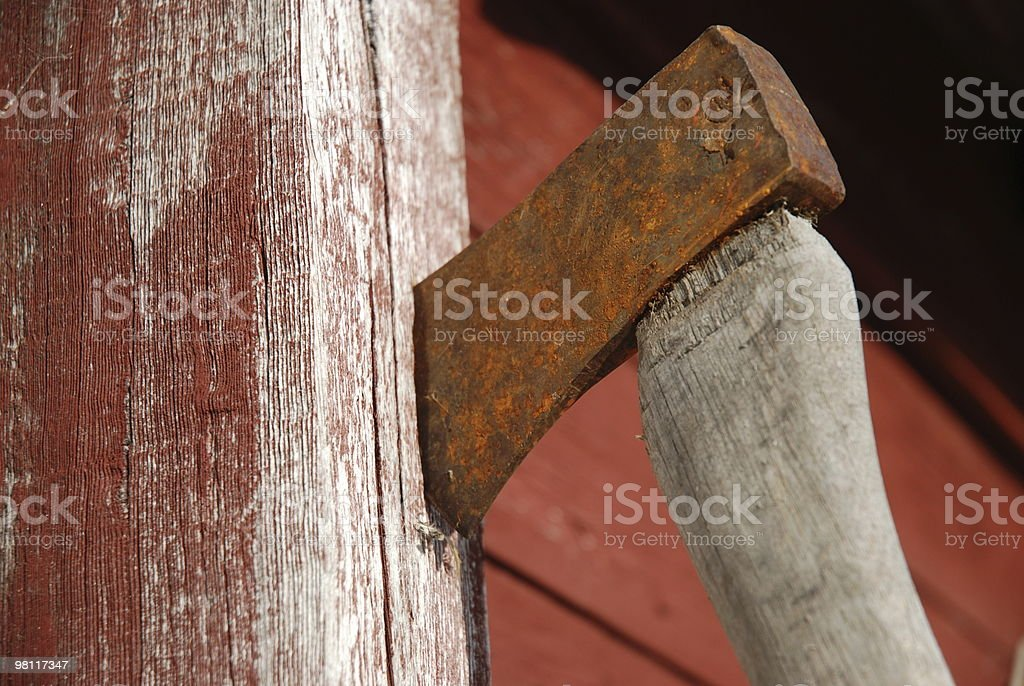 Rusty Axe on Post royalty-free stock photo