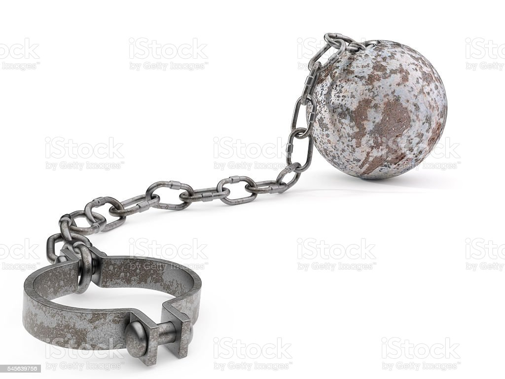 Rusty Ball and Chain stock photo