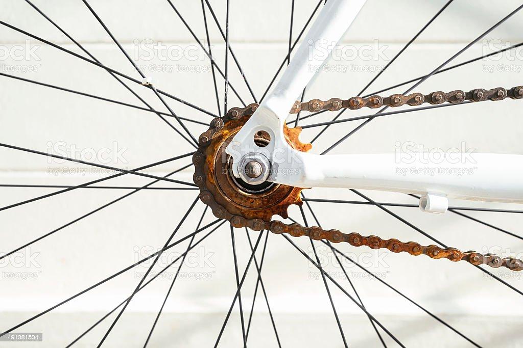 Rusty Bicycle Chain Maintenance and repairs stock photo