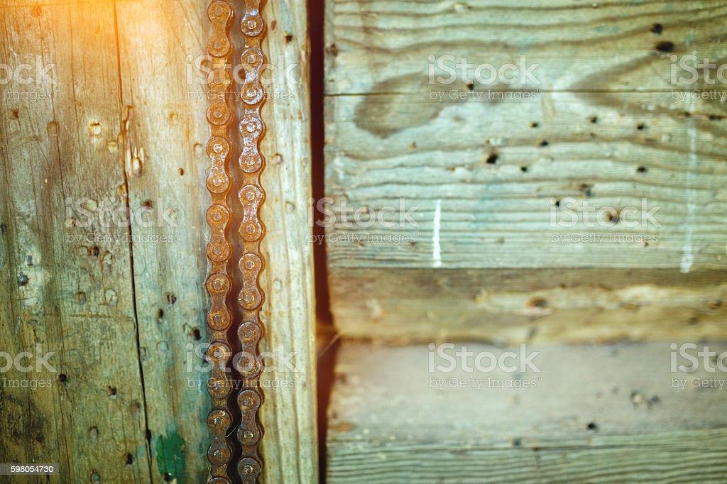 Rusty bicycle chain stock photo