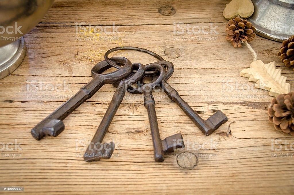 Rusty big keys stock photo