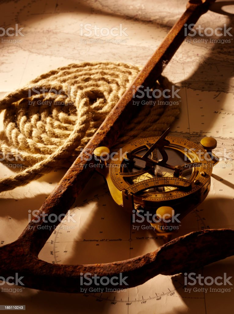Rusty Boat Anchor and Nautical Equipment stock photo