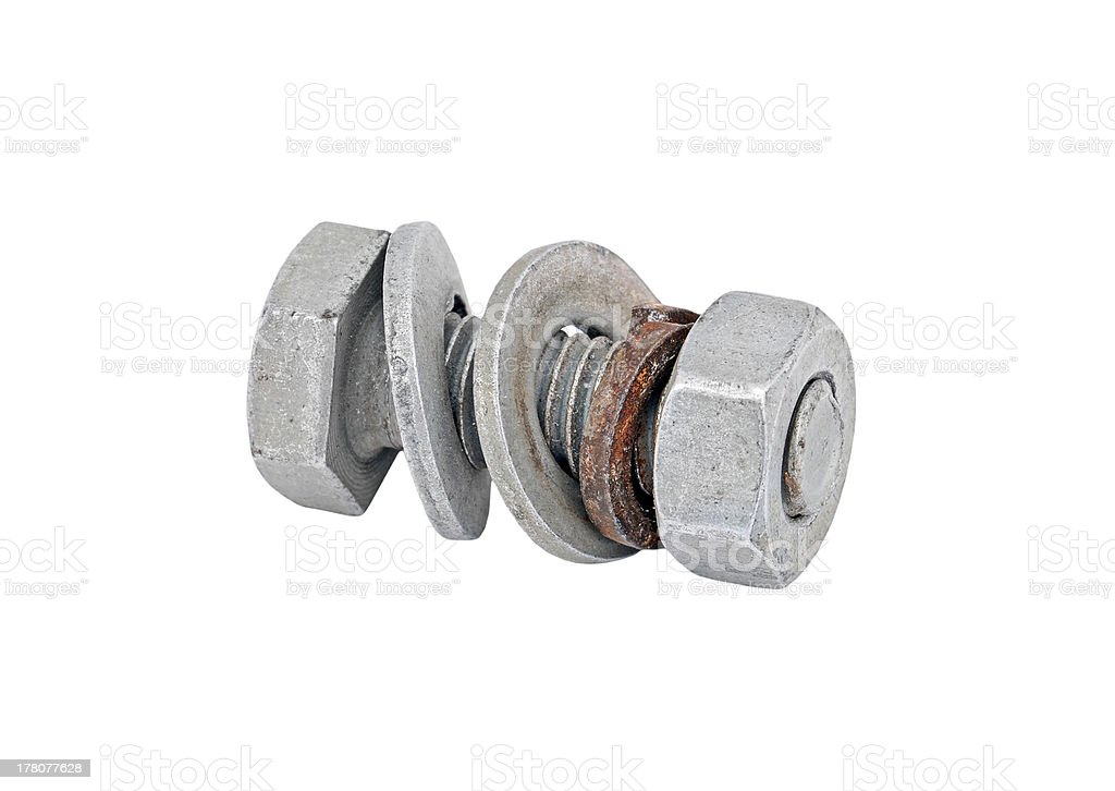 Rusty bolt and nut royalty-free stock photo