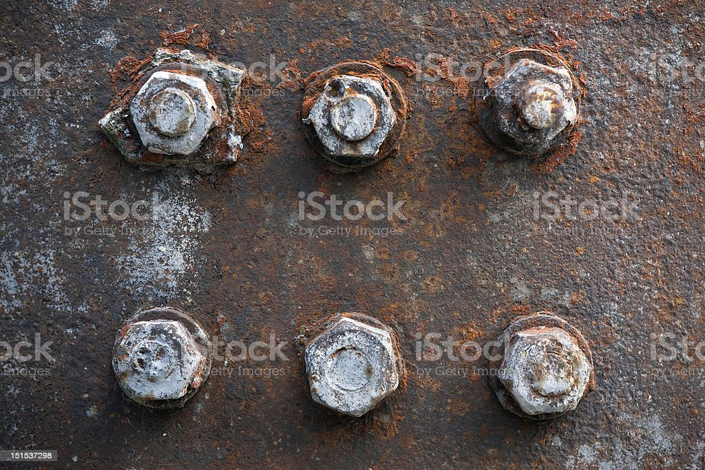 Rusty bolts and nuts royalty-free stock photo
