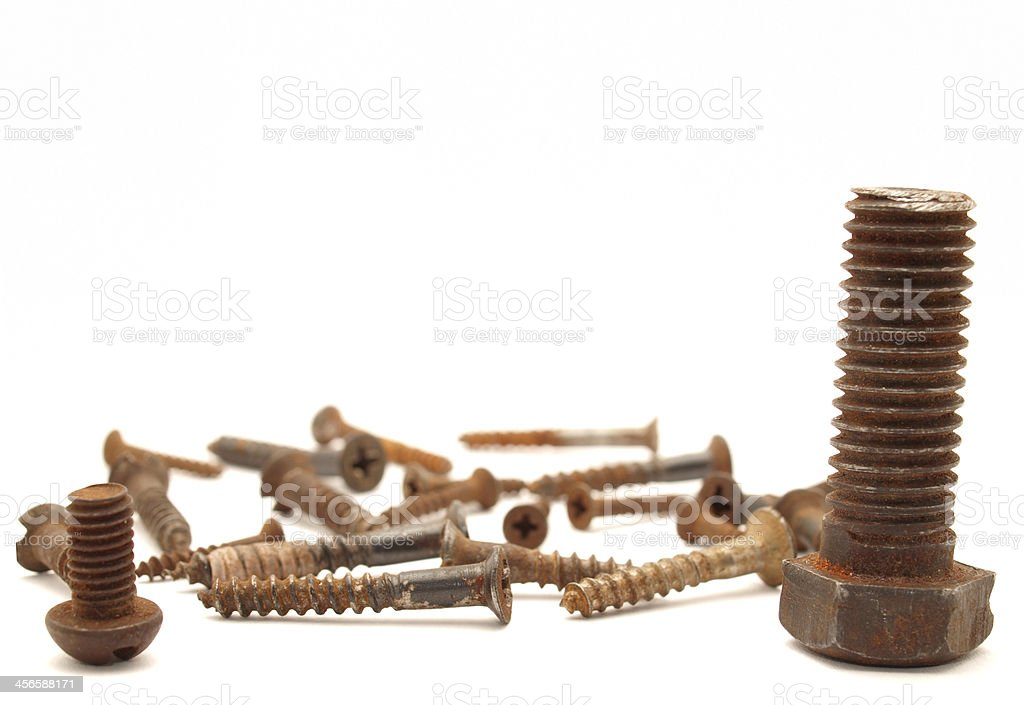 Rusty bolts and screws royalty-free stock photo