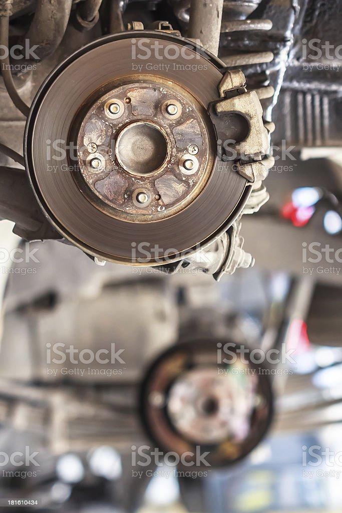 Rusty Brake Disc waiting for Maintenance in Service Garage stock photo