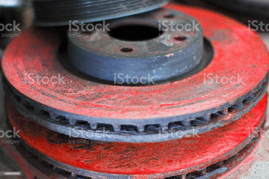 Rusty brake discs stock photo