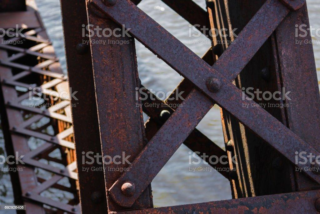 Rusty Bridge Support stock photo