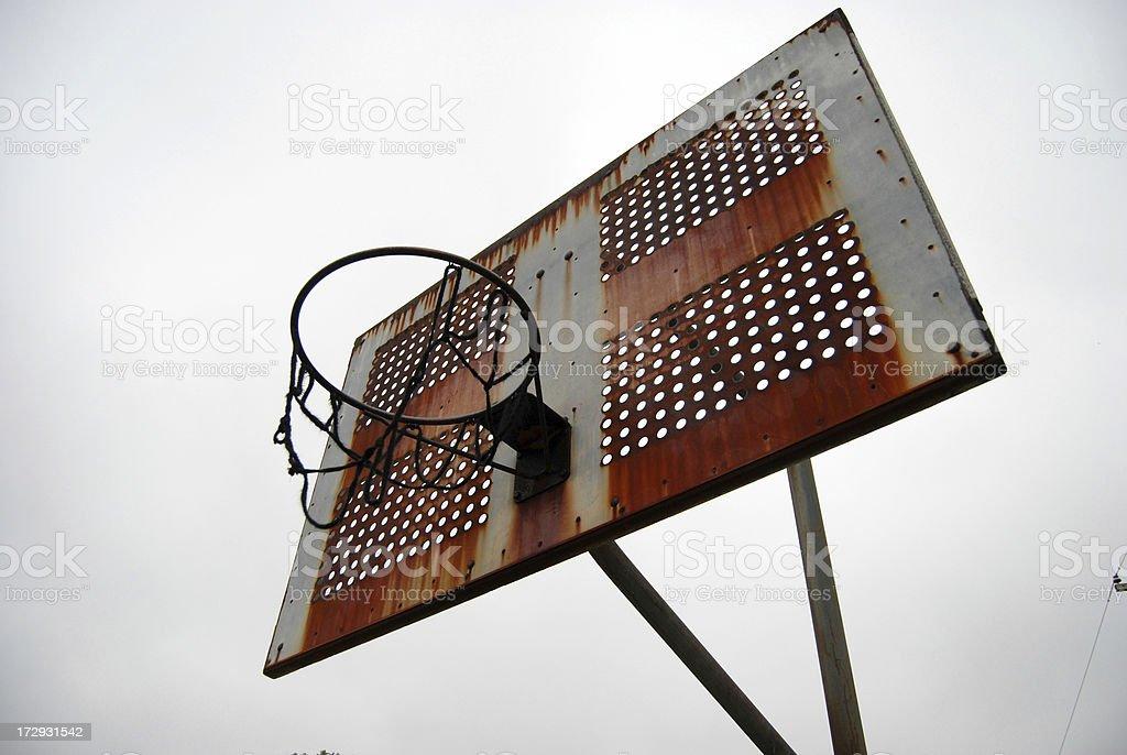 Rusty Broken Basketball Hoop and Backboard royalty-free stock photo