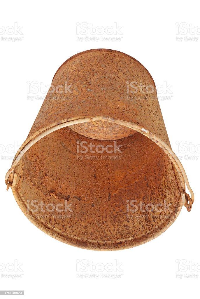 Rusty bucket (Clipping path) royalty-free stock photo