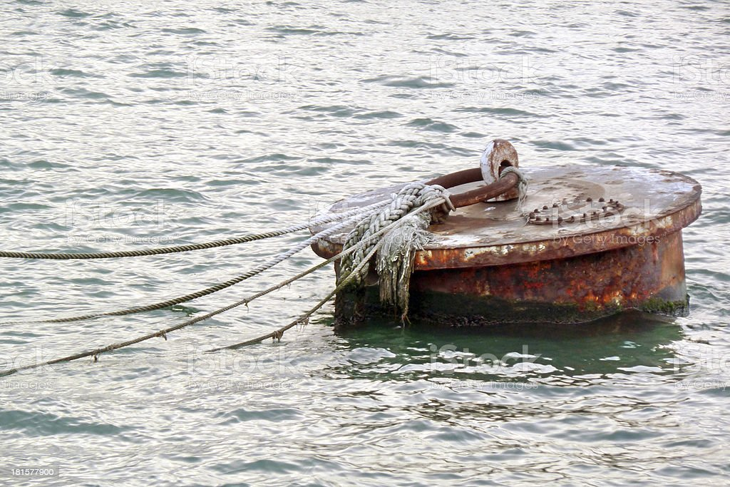 rusty buoy on water royalty-free stock photo