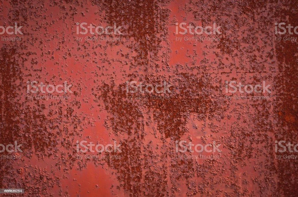Rusty Burgundy Red sheet metal. Texture stock photo