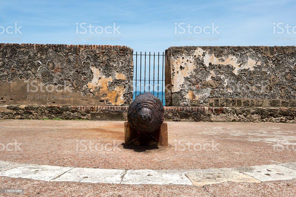 Rusty cannon at Morro Castle, San Juan, Puerto Rico stock photo