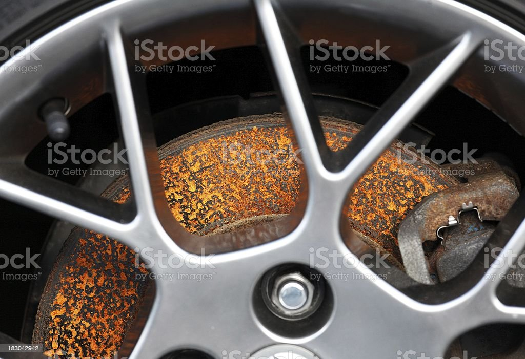 rusty car brake disk stock photo