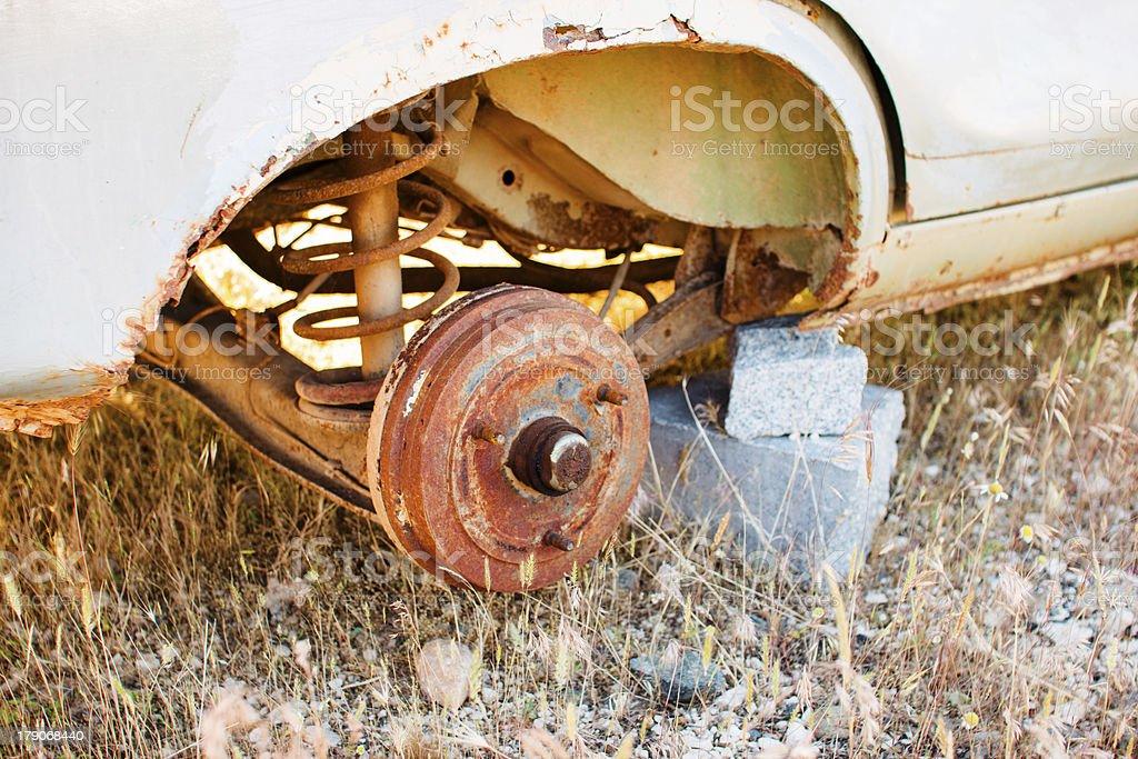 Rusty car disc brake stock photo