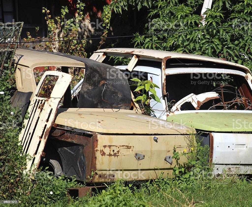 rusty car wrecks royalty-free stock photo