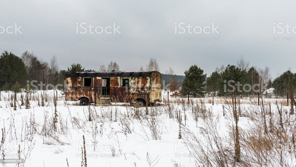 Rusty Caravan in Snow Chernobyl stock photo
