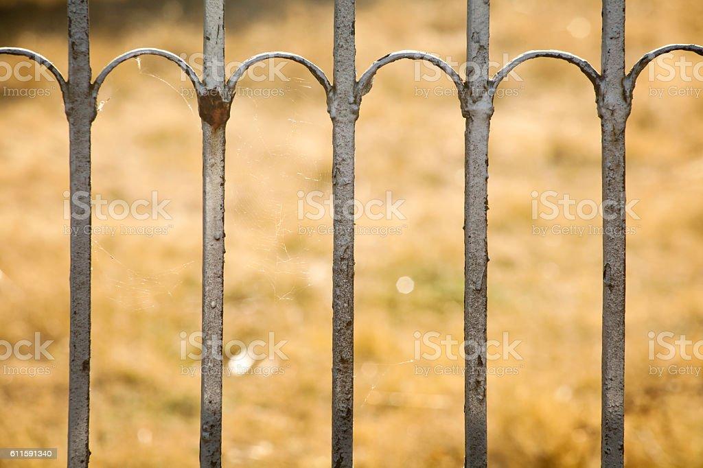 Rusty cast iron railing, yellow grass background. stock photo