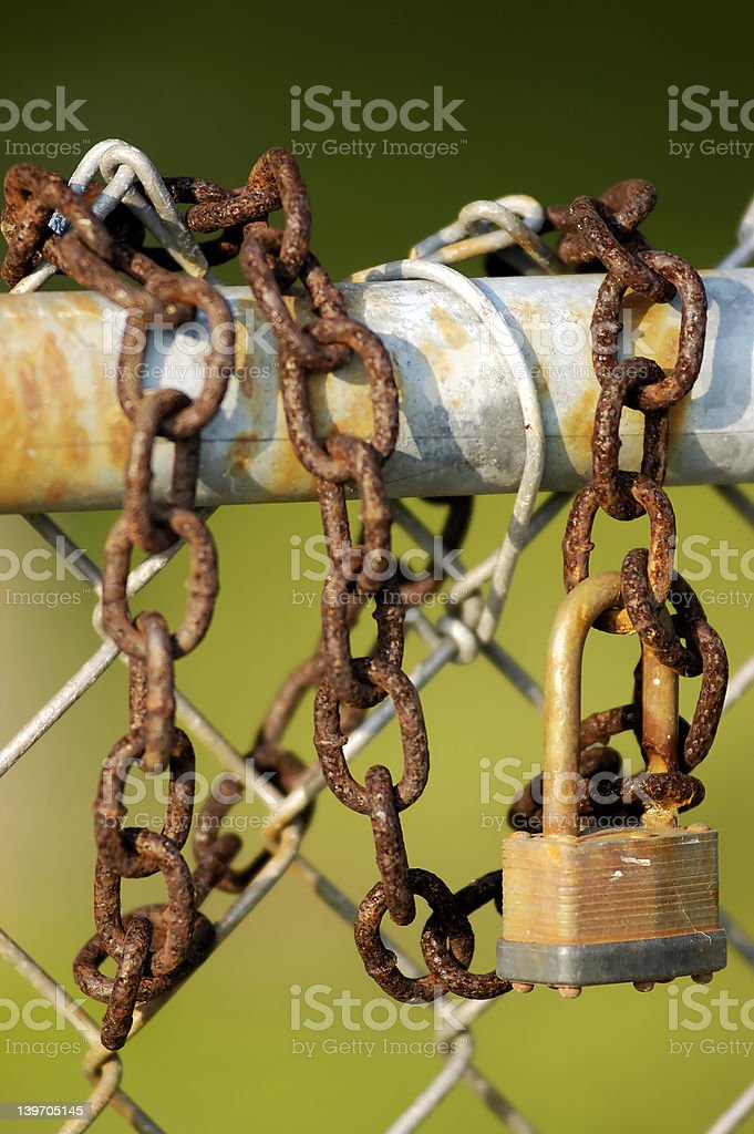 Rusty Chain and Lock royalty-free stock photo