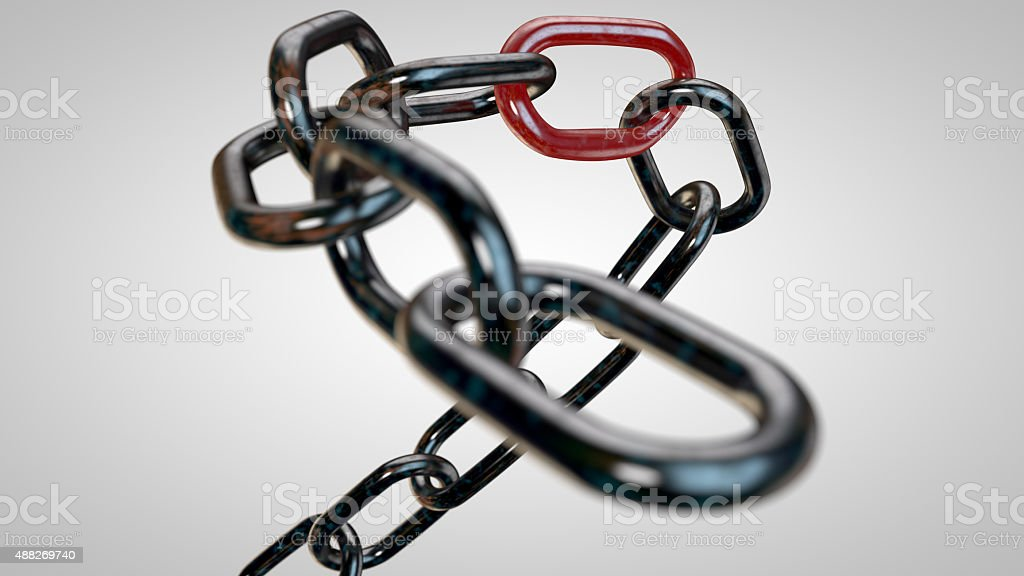 Rusty chain with the weakest link stock photo
