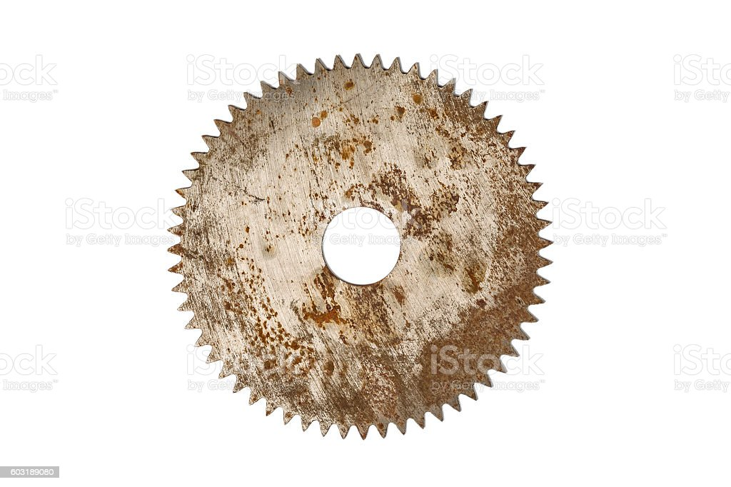 Rusty circular saw blade, isolated on white stock photo