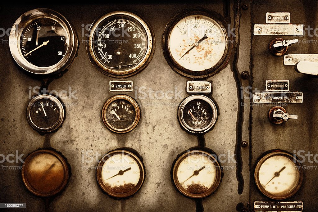 Rusty Control Panel of the Old Military Fire Truck royalty-free stock photo