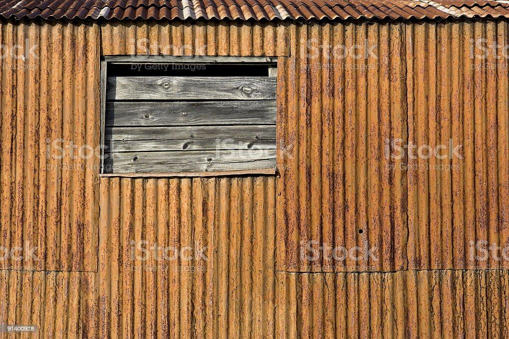 Rusty Corrugated Iron Shed stock photo