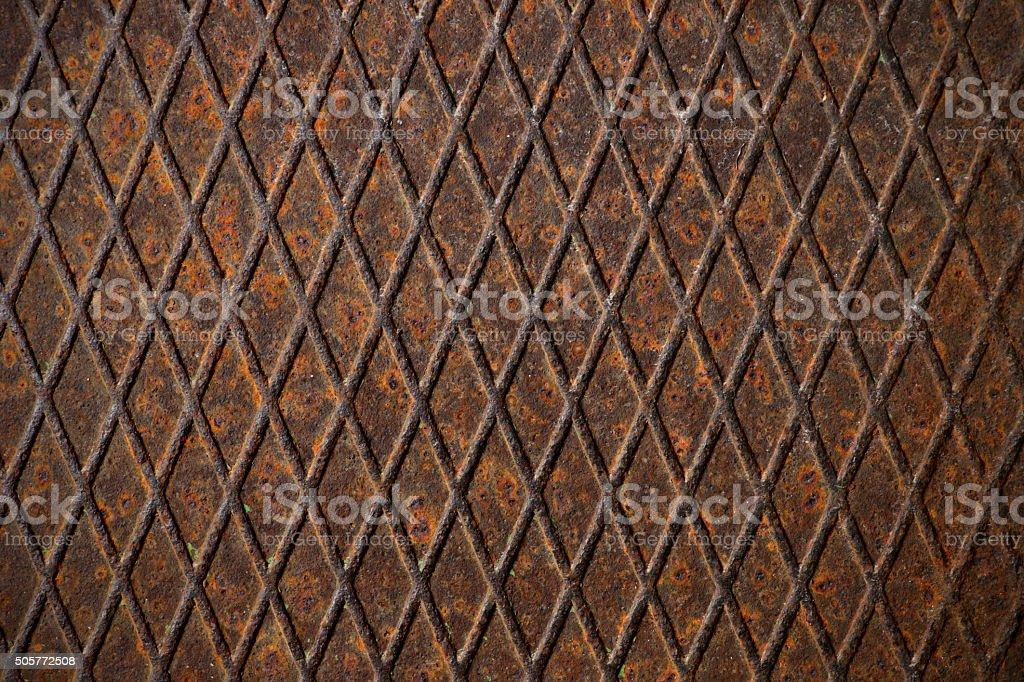 Rusty corrugated metal plate stock photo
