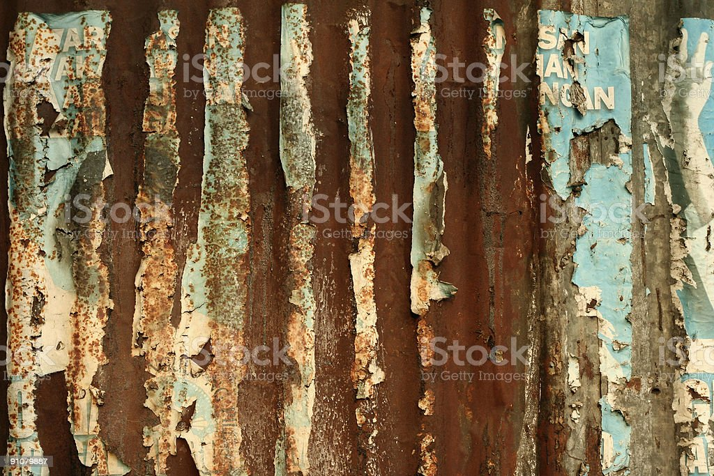 rusty corrugated metal wall background stock photo