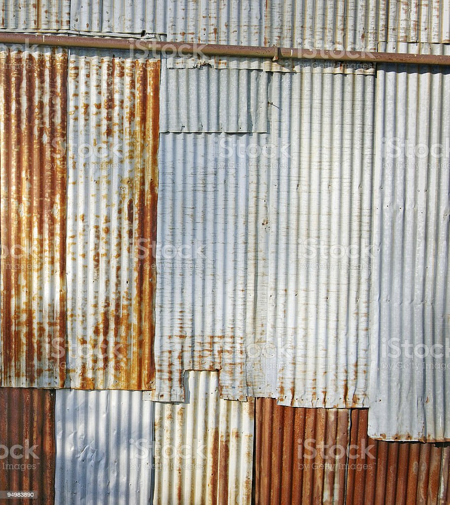 Rusty Corrugated wall royalty-free stock photo