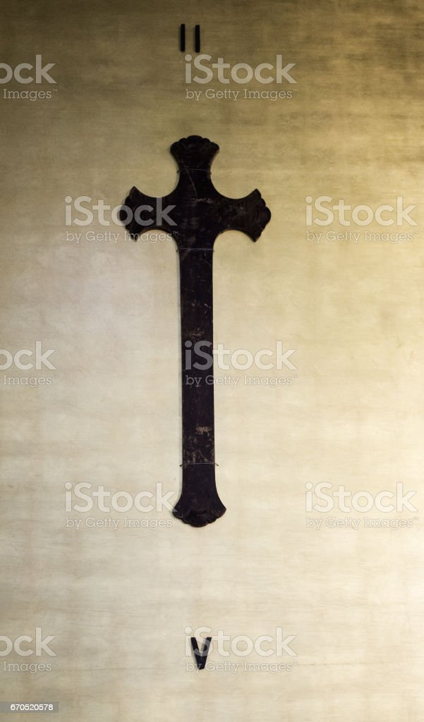 Rusty cross in church stock photo