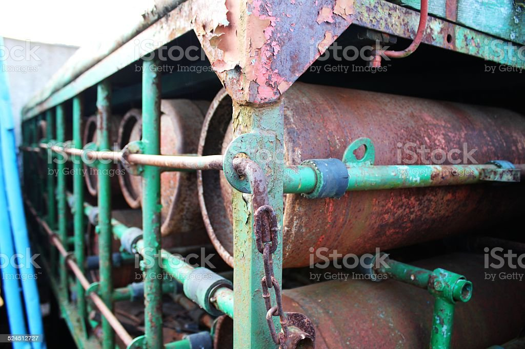 Rusty cylinders stock photo