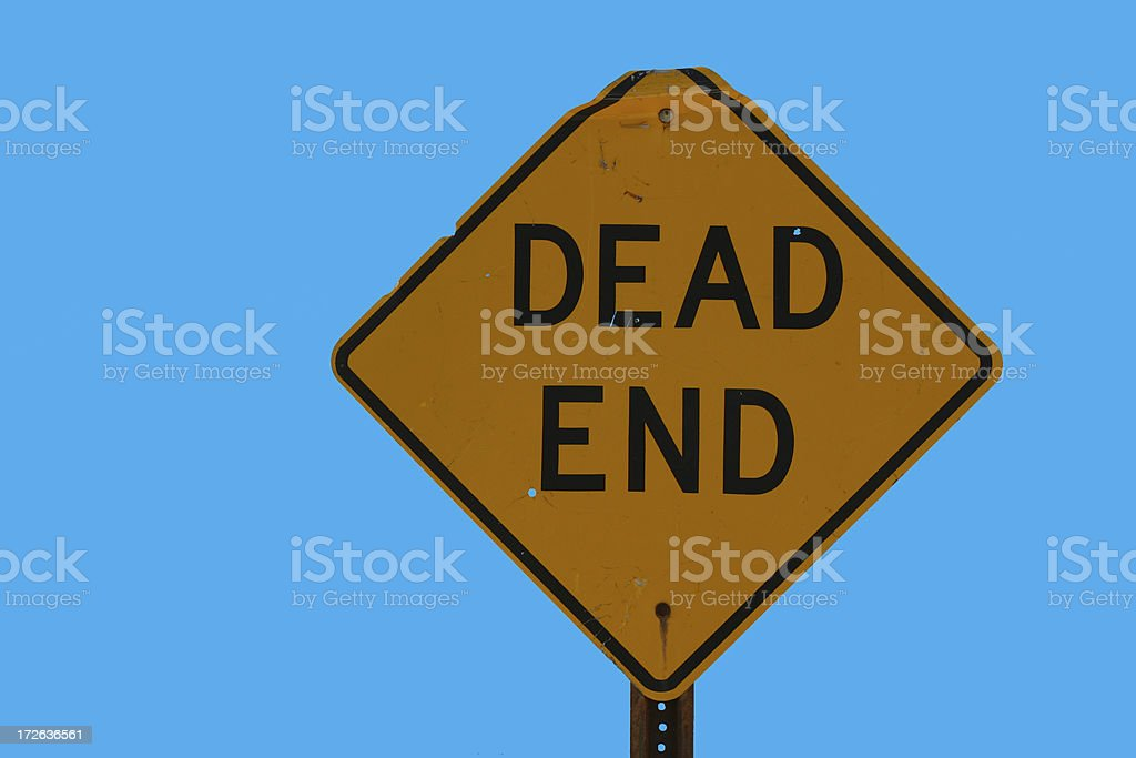 Rusty dead end sign stock photo