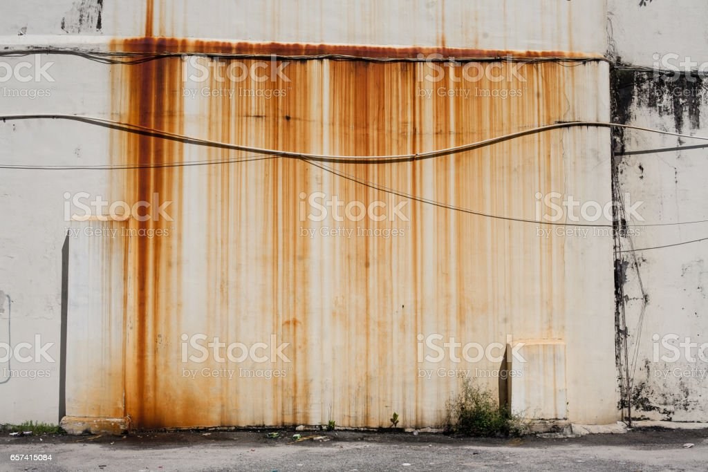 Rusty dirty moldy wall outdoor stock photo
