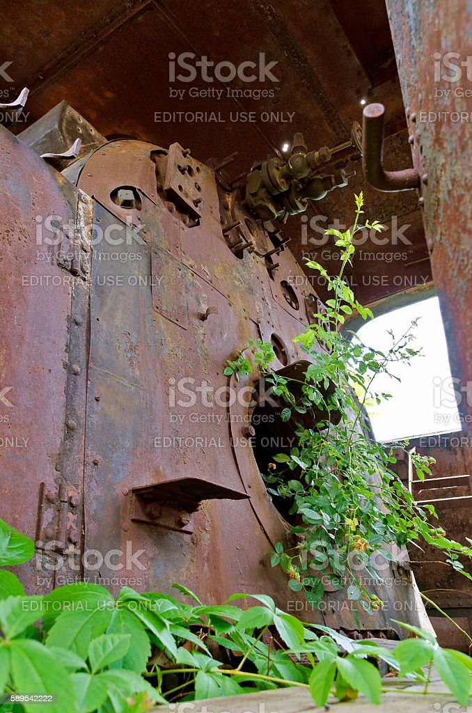 rusty driving cab with plants stock photo