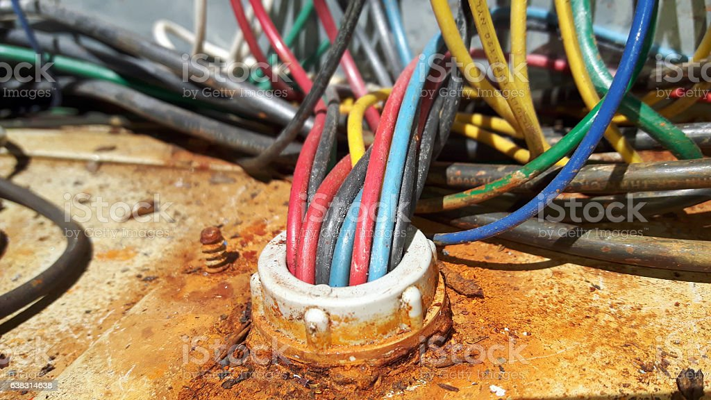 Rusty Electrical wiring stock photo