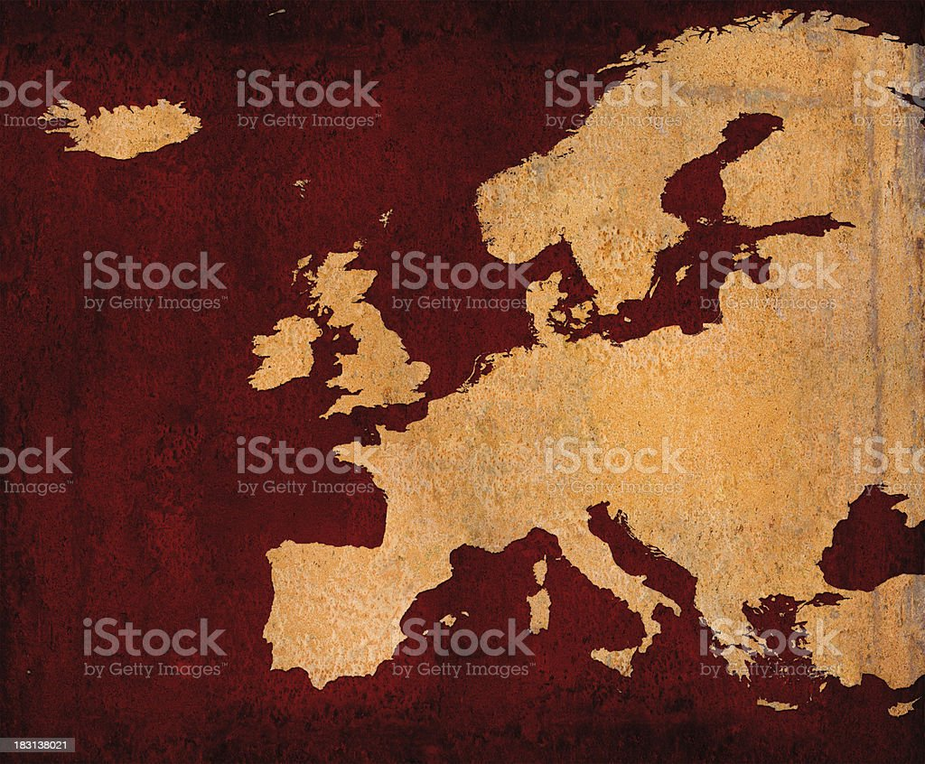Rusty Europe on red grunge background royalty-free stock photo
