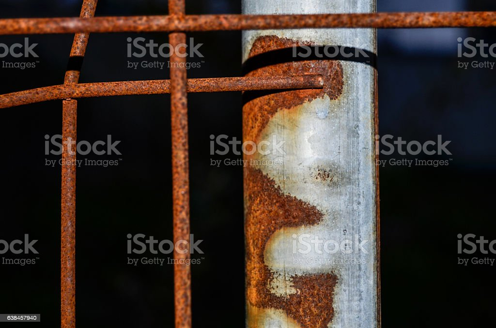 Rusty fence (detail) stock photo