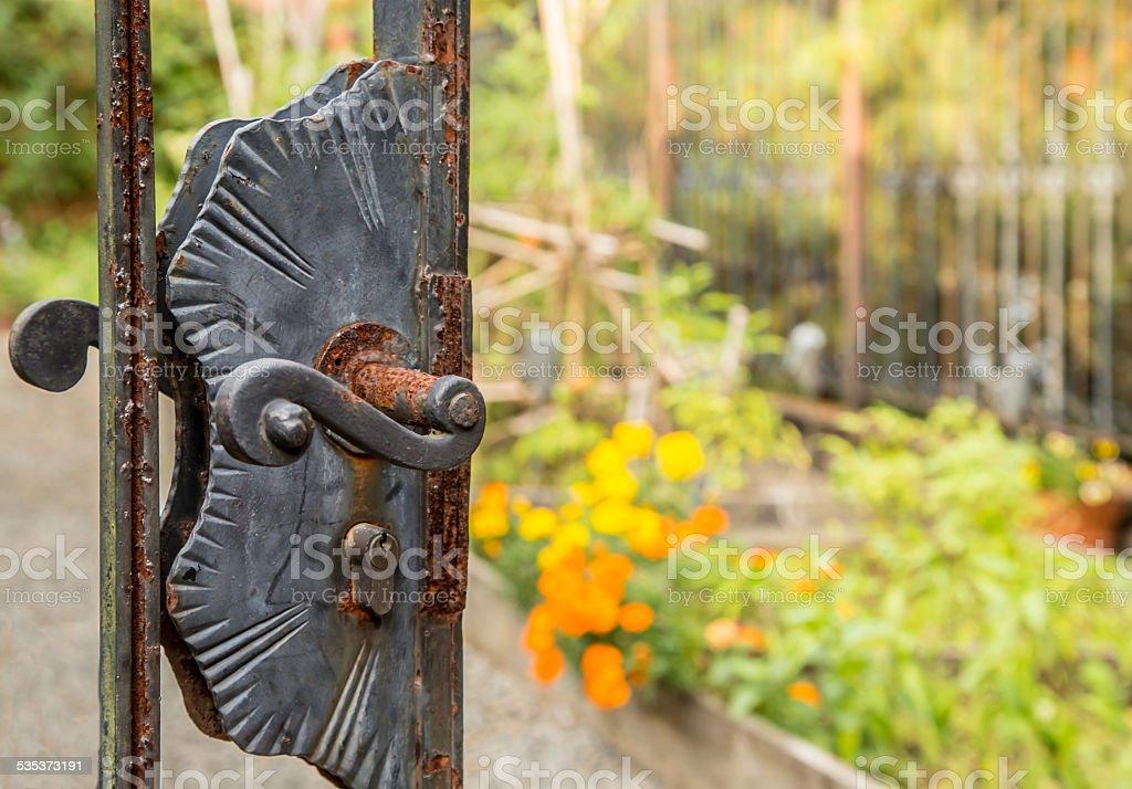 Rusty Garden Door stock photo