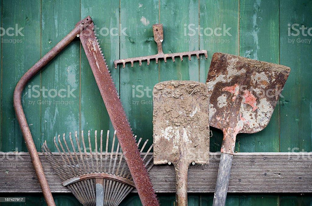 Rusty Garden Tools royalty-free stock photo