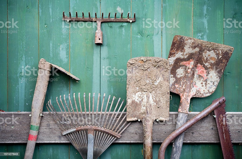Rusty Garden Tools stock photo