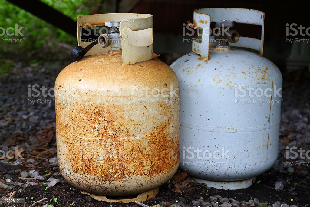 Rusty Gas Bottle stock photo