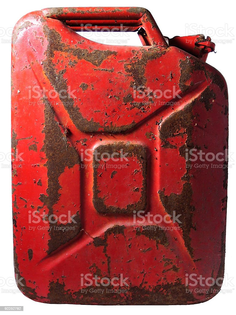 Rusty Gas Can stock photo