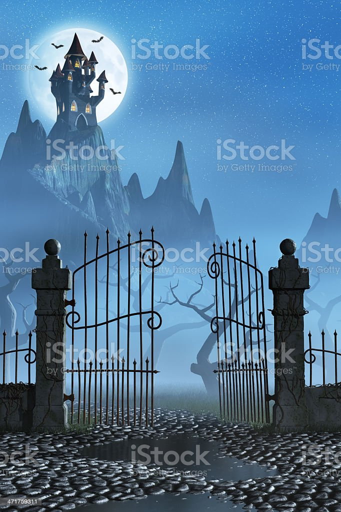 Rusty gate and a spooky dark castle stock photo
