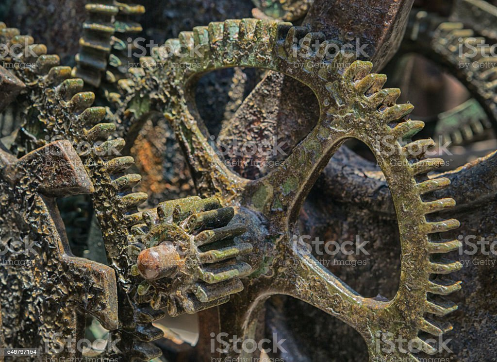 Rusty Gears of a Giant and Medieval Clock stock photo