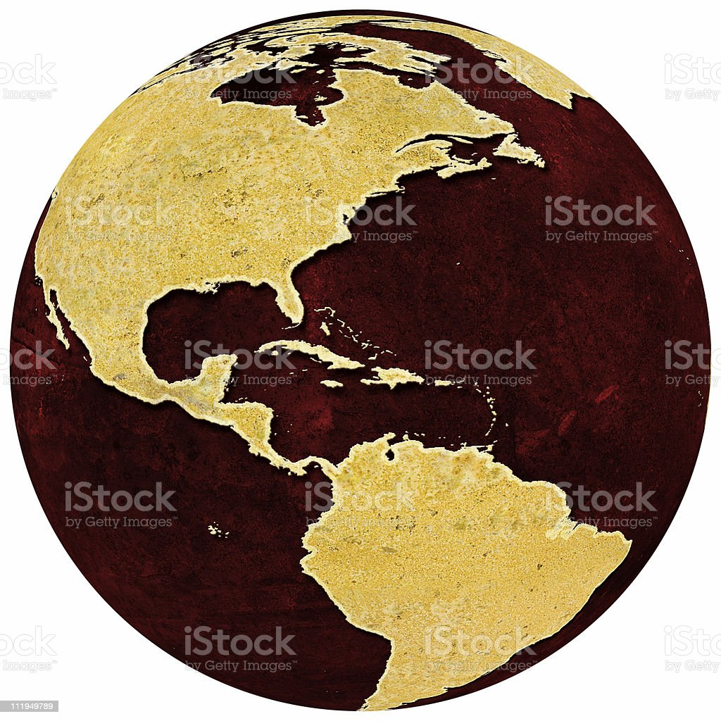 Rusty globe on red grungey background showing the Americas royalty-free stock photo