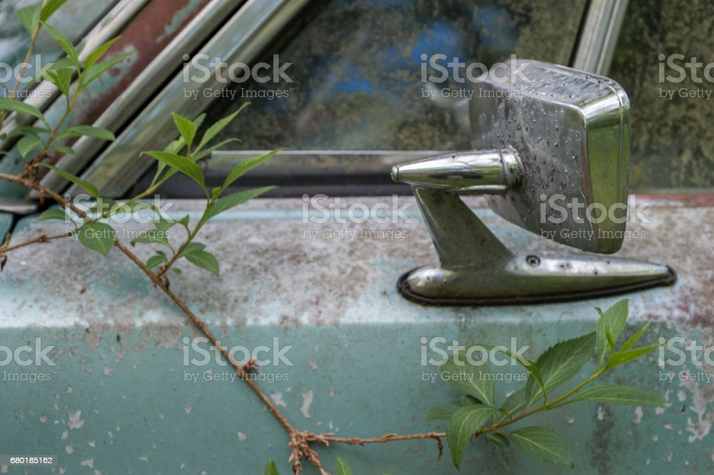 Rusty green car stock photo