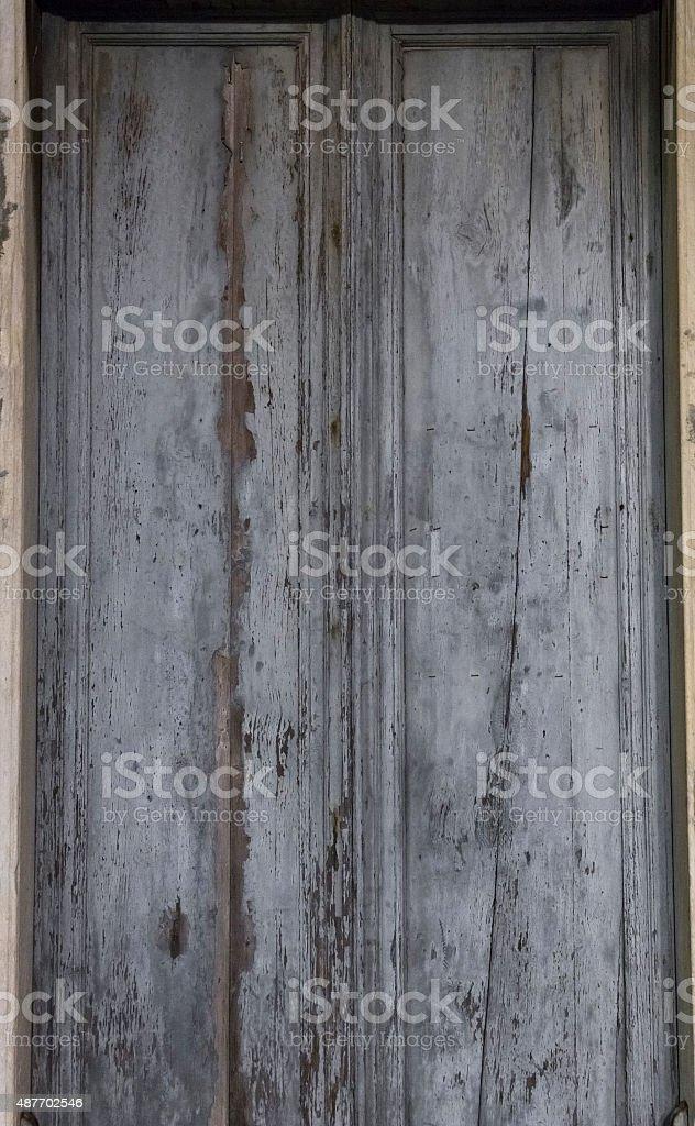 Rusty grey metal doors wood texture stock photo