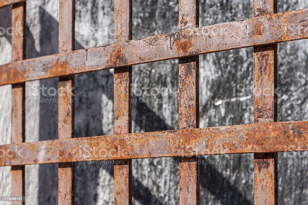 Rusty grid royalty-free stock photo