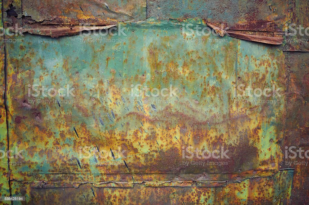 Rusty grunge green metal wall texture background stock photo